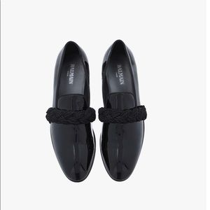 Balmain Patent Leather Loafer with cord detail.